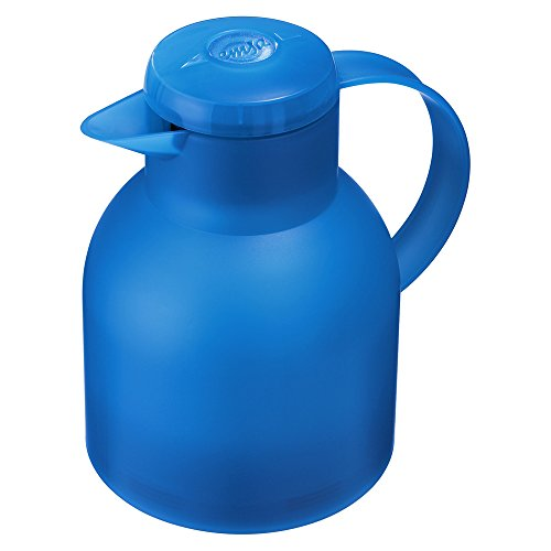 Emsa 509819 Samba Isolierkanne (1 Liter, Quick Press Verschluss, 12h heiß, 24h kalt) azurblau