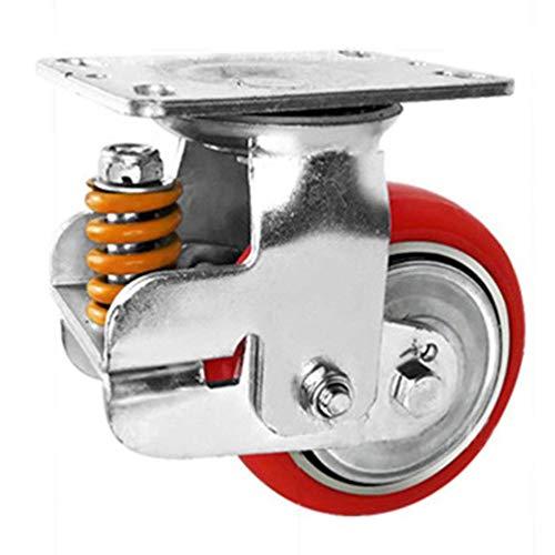 Alqn Ruedas giratorias de caucho de alta resistencia, rojo, ruedas giratorias con frenos, 360 grados; Placa fija, para portones escolares, puertas de fábrica, puertas de taller, 500 lb, paquete de 1,