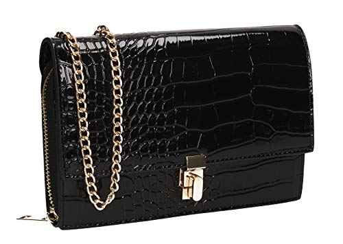 SWANKYSWANS Hazel Croc Effect Clutch Bag Black