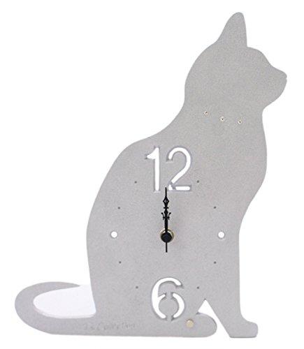 T 's Collection - Reloj de escritorio con pantalla de gato, color plateado CL-52
