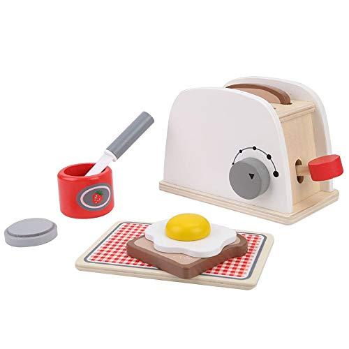 Houten pop-up broodrooster kinderspeelgoed, fantasiespel keukenset met accessoires voor kinderen