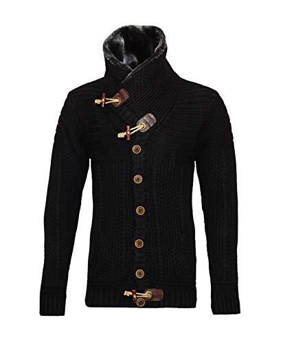Carisma 7597 - Chaqueta de punto con tira de botones y cuello de piel cálida Negro XXL