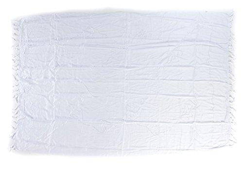 Ciffre Sarong Pareo Wickelrock Strandtuch Lunghi Stickerei Tuch Schlicht Uni Weiß
