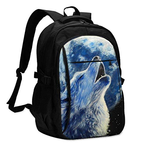 XCNGG Wolves Under The Moon Travel Laptop Backpack College School Bag Casual Daypack with USB Charging Port