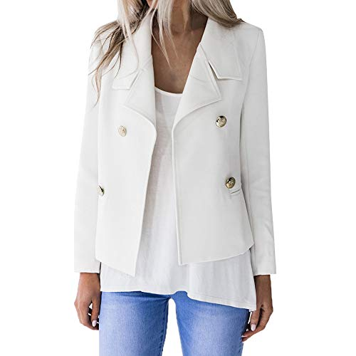 Toimoth Womens Solid Open Front Cardigan Two Button Office Blazer Suit Long Sleeve Casual Jacket Coat(White,S)