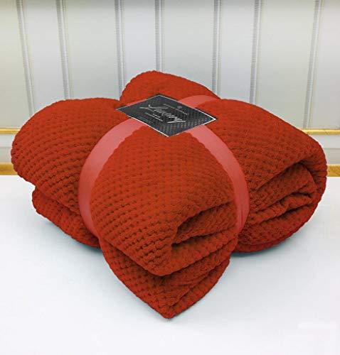 Super Soft Popcorn Textured Throws Fleece Blanket Sofa Bed Warm Large Settee (Rust/Orange, Double:150Cm x 200Cm)