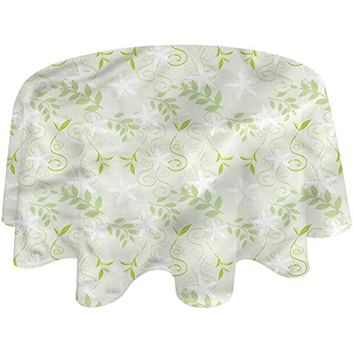 Picnic Tablecloth Mint Patio Table Cloth Swirls Floral Branches BBQ, Picnic, Kitchen Tablecloth Round,50 inch