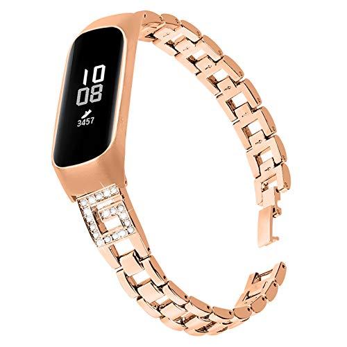 TechCode Galaxy Fit E Pulsera, Pulsera Ajustable de joyería con Diamantes de imitación con Incrustaciones Correa de Repuesto de Metal de liberación rápida para Samsung Galaxy Fit-e SM-R375 (G01)