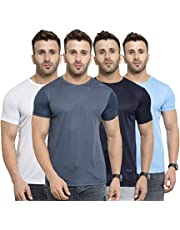 AWG ALL WEATHER GEAR Men's Polyester Round Neck T-Shirts - Pack of 4