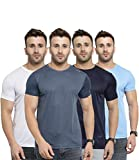 AWG ALL WEATHER GEAR Men's Polyester Round Neck T-Shirts - Pack of 4 (AWGDFT-BU-DGR-WH-SBU-M,...