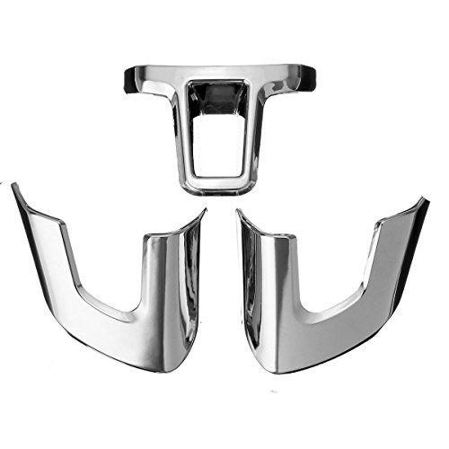 HDCF - Juego de 3 Piezas de plástico ABS Cromado para decoración de Volante, Pegatina para Golf 6 MK6 Polo Jetta MK5 MK6 Bora