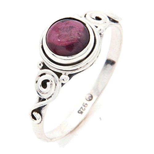 Ring Silber 925 Sterlingsilber Granat rot Stein (Nr: MRI 115), Ringgröße:54 mm/Ø 17.2 mm