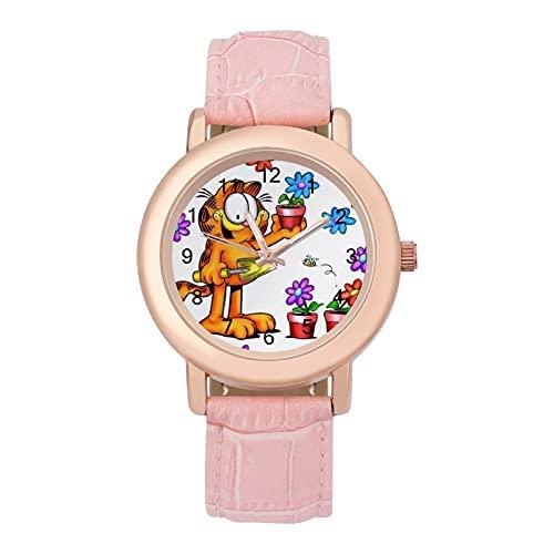 GarfieldLadies Reloj de cuarzo con correa de cuero 2266 espejo de cristal redondo rosa accesorios casuales moda temperamento 1.5 pulgadas