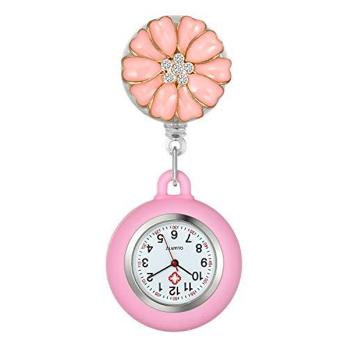 Krankenschwester Uhr Set Blütenblatt Dehnbare pink, Krankenschwesteruhr Analog digital Schwesternuhren Silikon FOB Ansteckuhr Set für Damen Frauen