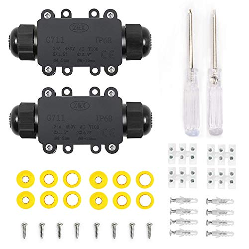 YIXISI Abzweigdose, IP68 Wasserdichte Verteilerdose, 2 Wege Junction Box, Kabelverbinder Aussen, für den Außenbereich, Ø4mm – 15mm,(2er Pack)