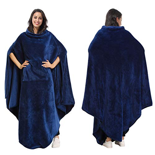 Tirrinia Fleece Wearable Blanket Comfy Poncho Plush Sleevesless Blankets for Adult Women Men Kids Capee Wrap Cover for Full Body, Indoors & Outdoors, Navy