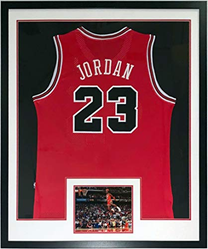 Michael Jordan Authentic Nike Chicago Bulls Jersey - Professionally Framed & 1988 Slam Dunk Contest 8x10 Photo 34x42