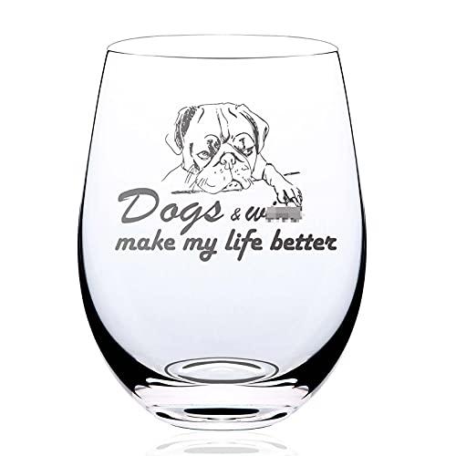 Dogs & wine make my life better | Copa de vino sin tallo regalos con divertidos dichos | Copa de vino gigante gigante rojo o blanco | Cristal de gran tamaño cristalería de vino de 538 ml