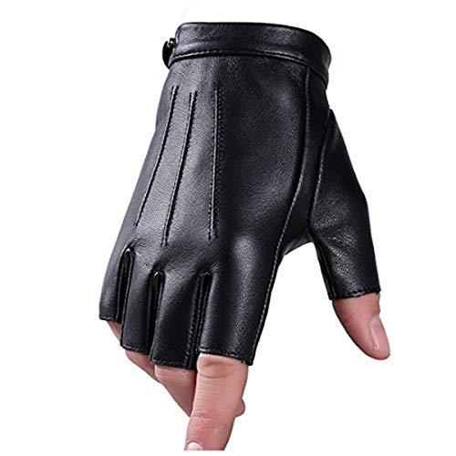 Guantes Sin Dedos Conducción Guante PU Faux Cuero Medio Dedo para Moto Ciclismo Alpinismo Deporte Gimnasio Hombres Mujer Adolescentes (forro polar, M)