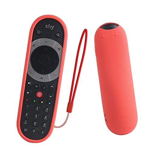 Custodia protettiva per telecomando, antiurto, antiscivolo, impermeabile, in silicone, con laccio anti-smarrimento, per Sky Q, Non null, Rosso, Taglia libera