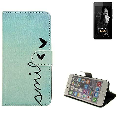 K-S-Trade® Schutzhülle Für FANTEC Limbo Hülle Wallet Case Flip Cover Tasche Bookstyle Etui Handyhülle ''Smile'' Türkis Standfunktion Kameraschutz (1Stk)