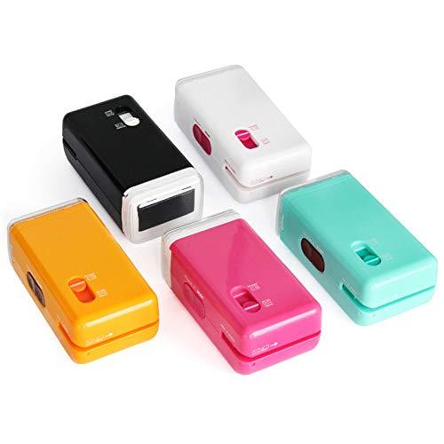 QKFON Mini Elektrischer Aktenvernichter, 3 in 1 Kompakter Aktenvernichter mit Sicherheitsstempel, multifunktionaler Brieföffner für Zuhause und Büro Schreibtisch