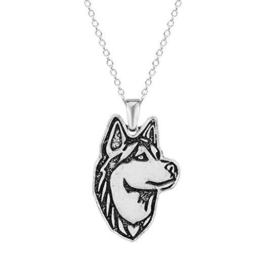 Collar Husky, colgante de perro de plata, amuleto de perro,