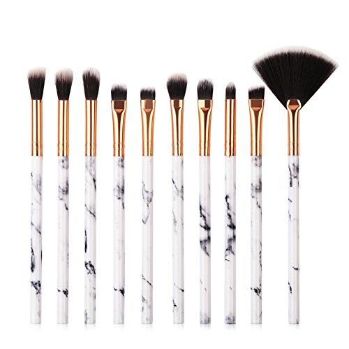 Demarkt 10 pcs Outil de Maquillage de beauté de poignée en Plastique portative de Brosse de Maquillage d'oeil marbré(Blanc)