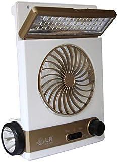 Ventilador Solar para Camping portátil Ventilador para el Cuidado del Ojo Lámpara de Mesa LED 3 en 1 Multifuncional con Linterna Enchufe Adaptador para Panel Solar para Acampar en casa,Gold