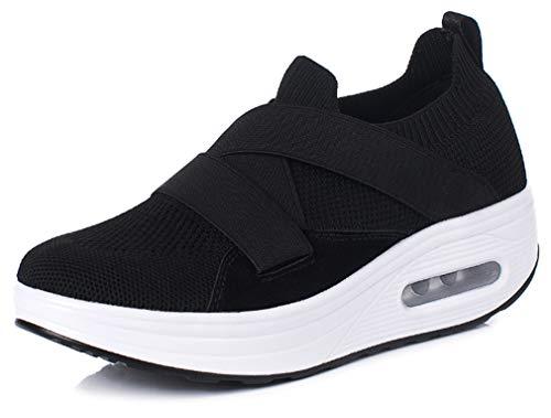 SolshineDamenPlateauschuhe Mesh Sneakers Fitnessschuhe D147 Schwarz 40EU