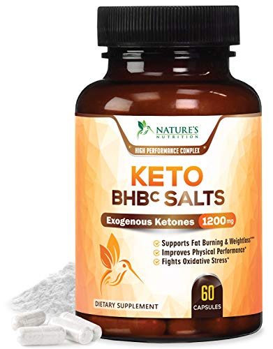 Keto BHB Exogenous Ketones Pills Extra Strength goBHB Salts 1200mg - Made in USA- Keto Weight Support Pills with Natural Caffeine, Magnesium Beta, Hydroxybutyrate, Calcium, Ketone Supple - 60 Capsules