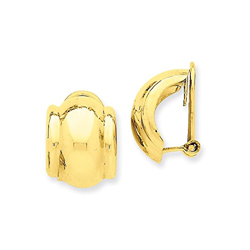 14k Yellow Gold Omega Clip Non Pierced On Earrings Fine Jewelry For Women Gifts For Her