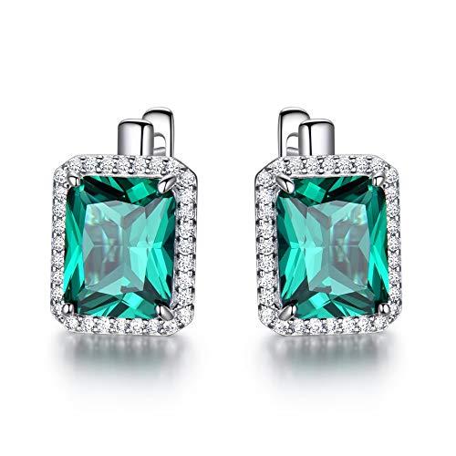 NA - Pendientes rectangulares de diseño de topacio azul cielo, color liso, plata de ley 925, piedras preciosas para joyas de mujer, Emerald