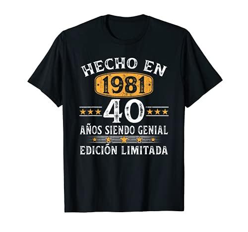 40 Años Cumpleaños Regalo Para Hombre Mujer Hecho En 1981 Camiseta