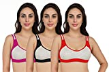 Fervenzi Women's Cotton Non Padded Non-Wired Sports Bra Combo 3 (36, Red, Black, Pink)