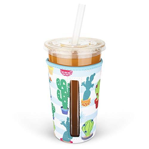 MEETI Wiederverwendbare Isolierhülle für Eiskaffeetassen, für kalte Getränke, Neopren-Becherhalter, kompatibel mit Starbucks, McDonald's Kaffee, Dunkin Donuts, Tim Hortons und mehr, groß, mehrfarbig 7