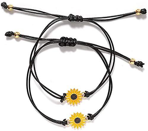 Salefun - 2 pulseras para mujer de la amistad con girasoles y cadenas, para graduación, cumpleaños, hechas a mano, regalo para mejores amigos, mujeres, niñas, madres, hijas