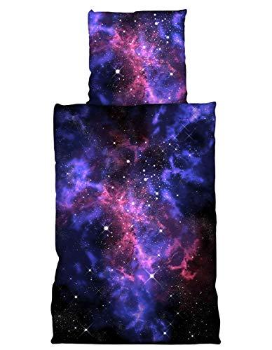one-home 4 teilig Weltall Bettwäsche 135x200 cm Weltraum Galaxy Planeten Universum Sterne