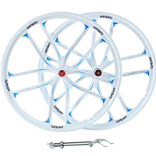 Ruedas de Bicicleta MTB de 26 Pulgadas, Aleación de Magnesio Freno de Disco Híbrido/Ciclismo de Montaña para Velocidad 8/9/10/11 Casete (Color : White, Size : 26in)