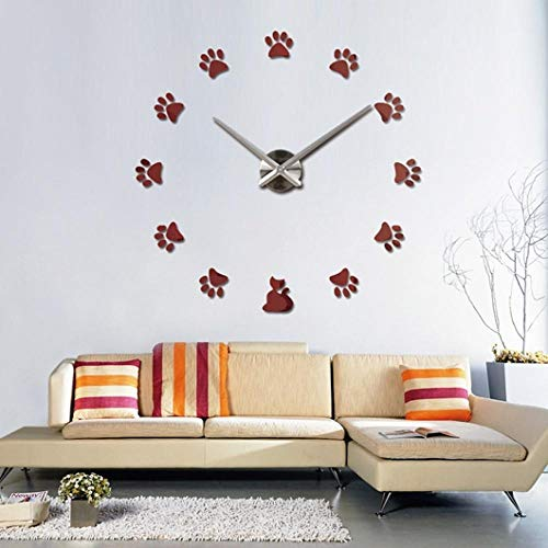 FPRW Diy 3D Quartz Acryl Horloge Klok, Spiegel Effect Home Decoratie Moderne Voetafdruk Muursticks Klok, Stilleven Stijl, 47 Inch Rood