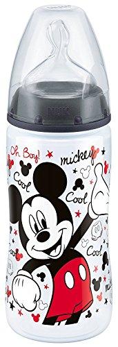 Nuk 10741609 Disney Topolino 0-6 Mesi Foro M (Latte) Biberon First Choice con Tettarella in Silicone, 1 pezzo [Modelli assortiti]