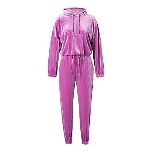 Chándal de terciopelo para mujer, conjunto de terciopelo de color sólido, manga larga, con capucha y pantalones largos