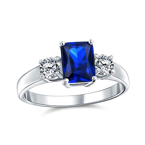 Bling Jewelry 2CT Rectángulo Azul Esmeralda Corte 3 Piedra Pasado Presente Futuro Zafiro Simulado CZ Anillo de Compromiso 925 Plata de Ley