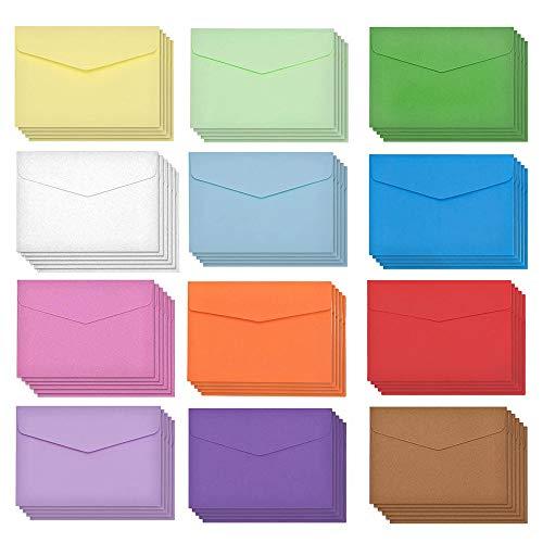 Bunte Briefumschläge,60 Stück Mini Umschläge Mehrfarbig Kleine Umschläge Handgefertigte Kleine Briefumschläge Niedlich für Geschenkkarte Hochzeit,Geburtstag Party Supplies,11,5 x 8,2 cm