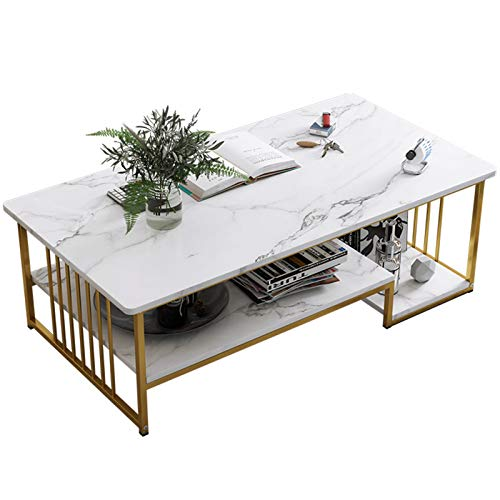 Yingm Home Decoration Modern Rectangular Coffee Table Home Office with Artificial Marble Table Top and Golden Metal Frame Popular Coffee Table (Color : White, Size : 120x60x42cm)