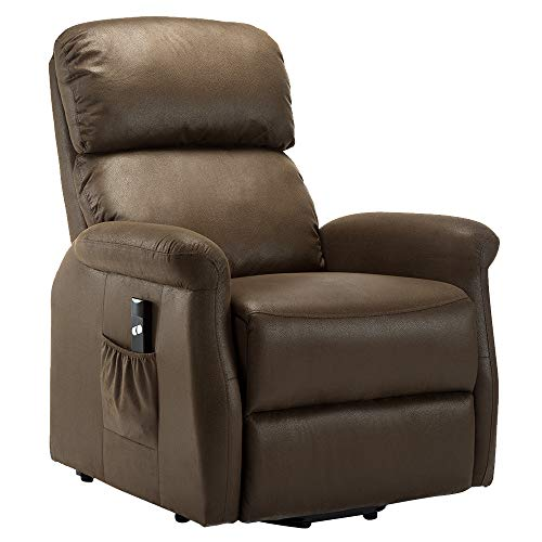 Bonzy Home Power Lift Recliner Chair Single Recliner Chair Living Room Sofa Recliner Electric Soft Fabric Recliner Chair Remote Control Chair