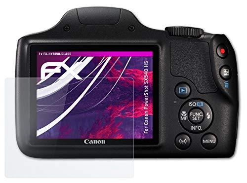 atFoliX Glasfolie kompatibel mit Canon PowerShot SX540 HS Panzerfolie, 9H Hybrid-Glass FX Schutzpanzer Folie