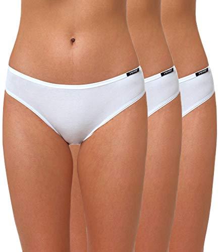 Yenita 3er Set Damen Basic Unterwäsche-Collection, Bikini-Slip, Weiss, Gr. M