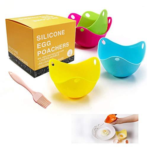Mit Pinsel Silikon Eierkocher Tasse, pochierte eier maker, Kochgeschirr, Dampfgarer, Mikrowelle-Set von 5