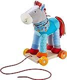 HABA 304142 - Pferd Kunterbunt, farbenfrohes Nachziehspielzeug mit Rollbrett und Kuscheltier, 30 cm, Spielzeug ab 18 Monaten -